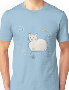 Whimsical Cat and Fish Unisex T-Shirt
