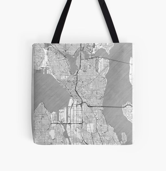 Seattle Map Line All Over Print Tote Bag
