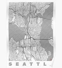 Seattle Map Line Poster