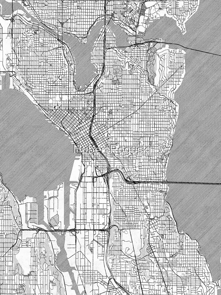 Seattle Map Line by HubertRoguski