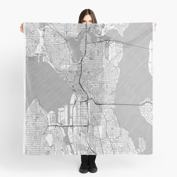 Seattle Map Line Scarf