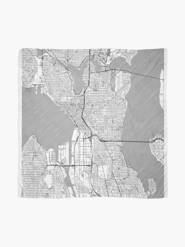 Alternate view of Seattle Map Line Scarf