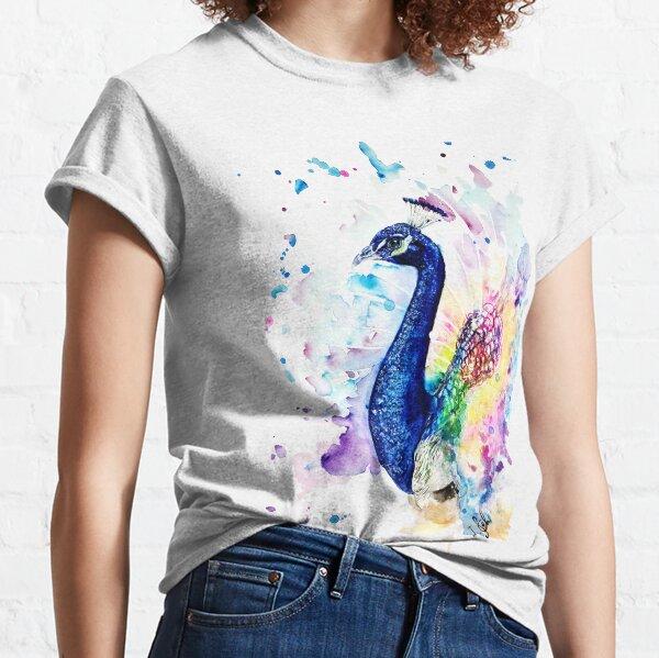 bunter Aquarell-Pfau Classic T-Shirt
