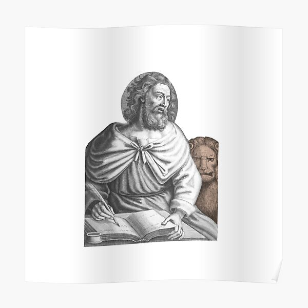 Saint Mark the Apostle the Evangelist - Leo Book and Feather Poster