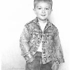 Boy in a new jean jacket drawing by Mike Theuer