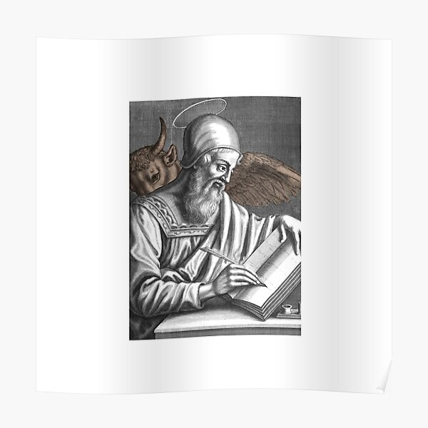 St. Luke the Evangelist. With Taurus, Livre and pen to write. Poster