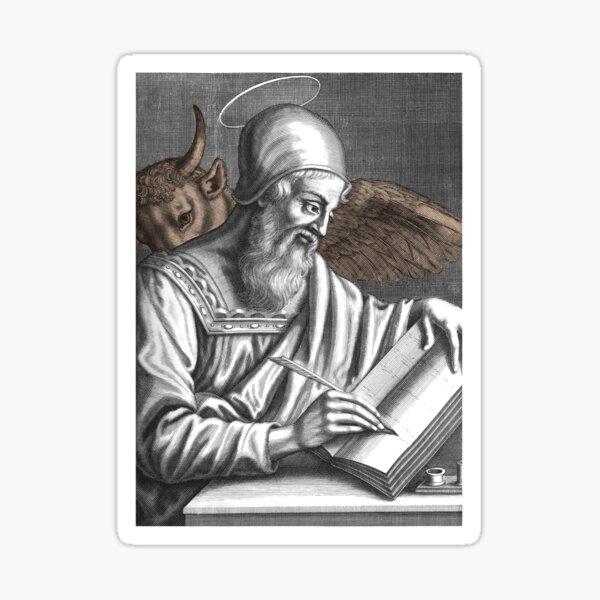 St. Luke the Evangelist. With Taurus, Livre and pen to write. Sticker