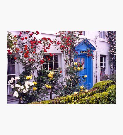 Entrance, English cottage, roses. UK Photographic Print
