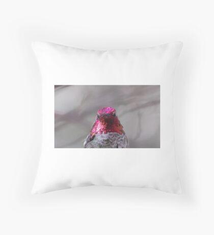 Red head hummingbird Throw Pillow