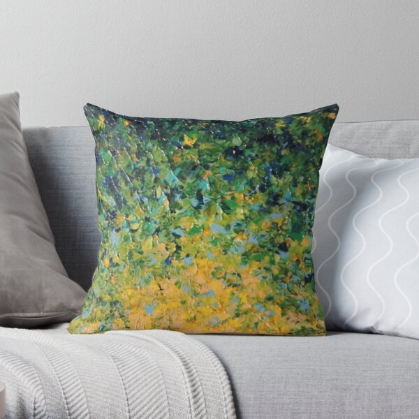IRISH SUNRISE - Beautiful Vancouver Bold Lime Kelly Forest Green Sunrise Sunset Abstract Nature Painting Throw Pillow