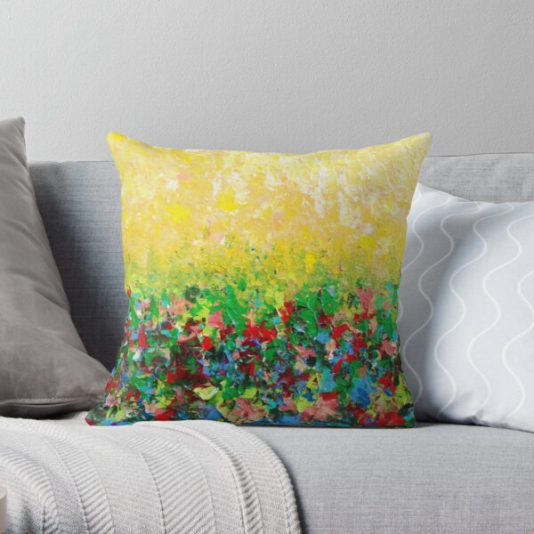 NATURE'S LIVING ROOM - Gorgeous Bright Bold Nature Wildflower Field Landscape Abstract Art  Throw Pillow