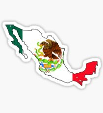 Mexico Map with Mexican Flag Sticker