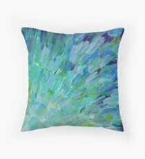 SEA SCALES - Beautiful BC Ocean Theme Peacock Feathers Mermaid Fins Waves Blue Teal Abstract Throw Pillow