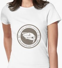 The Society of Palaeontology Fanciers (Brown on White) Women's Fitted T-Shirt
