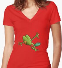 Epic Treecko Women's Fitted V-Neck T-Shirt