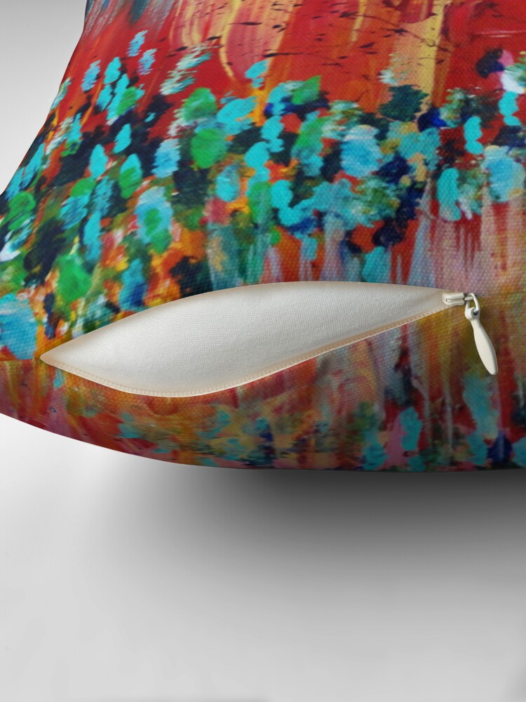Alternative Ansicht von REVISIONED RETRO - Bright Bold Red Abstract Acrylic Colorful Painting 70s Twist Vintage Style Hip Dekokissen