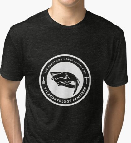 The Society of Palaeontology Fanciers (White on Dark) Tri-blend T-Shirt