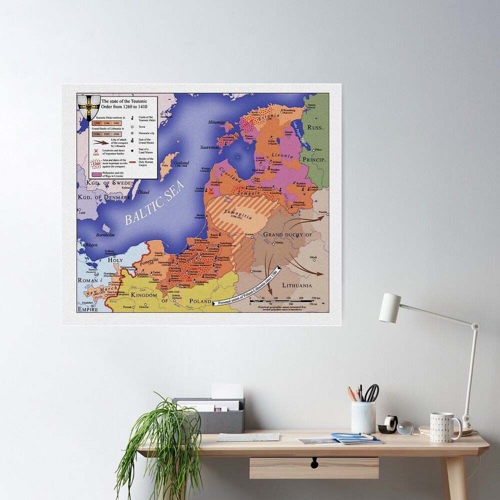 Map of Monastic State of the Teutonic Order, 1410 Poster