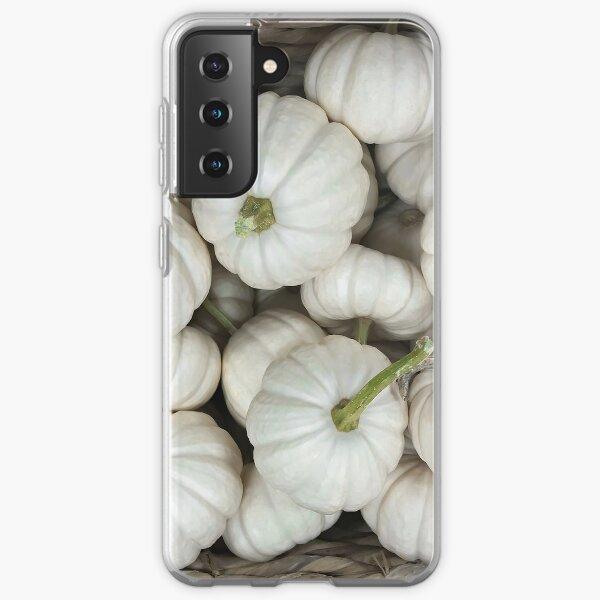 White ghost pumpkins Fall Harvest Delight Thanksgiving decor favorite Samsung Galaxy Soft Case