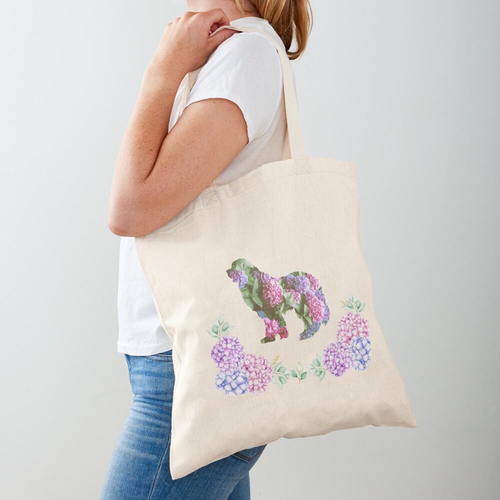 Newfie Hydrangea Design Tote Bag