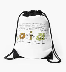 Fred the Mustard Packet Gets a Doughnut, a Churro, and a Funnel Cake to Talk About Themselves. Drawstring Bag