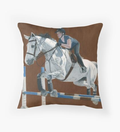 Jump! Horse & Rider Jumping  Throw Pillow