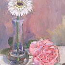 Pink Rose and Daisy by Deborah Pritchett