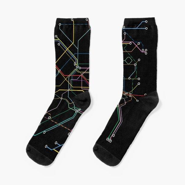 Paris Metro Map - Black background with colour graphic Socks