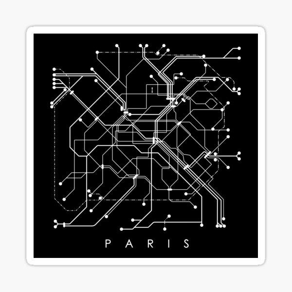 Paris Metro Map Monochromatic - Black background, white print. Sticker
