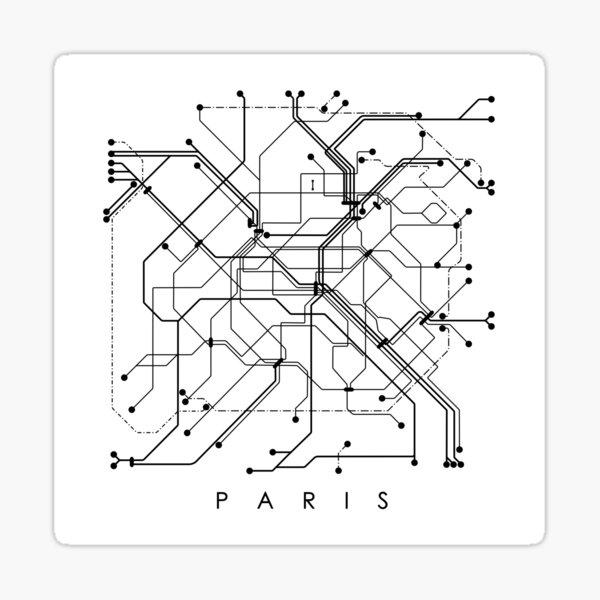 Paris Metro Map - White background, black print. Sticker