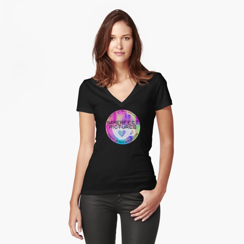 Imperfect Pictures Tye-Dye Coffee Cup Heart Fitted V-Neck T-Shirt