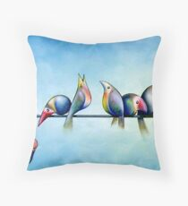 Finches On Parade - Excerpt One Throw Pillow