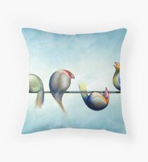 Finches On Parade - Excerpt Three Throw Pillow