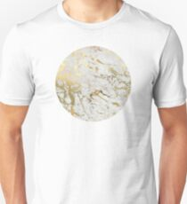 Gold marble on white (original height quality print) Unisex T-Shirt