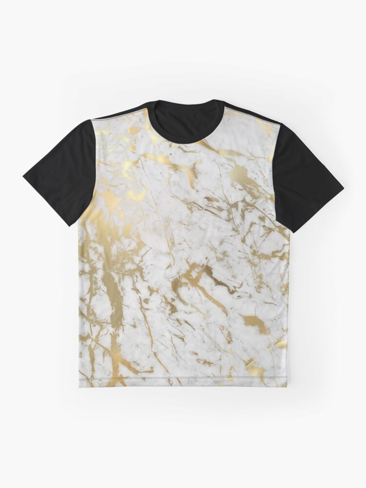 Alternate view of Gold marble on white (original height quality print) Graphic T-Shirt