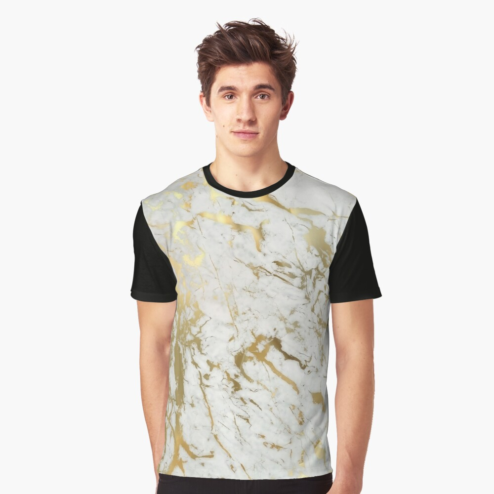 Gold marble on white (original height quality print) Graphic T-Shirt