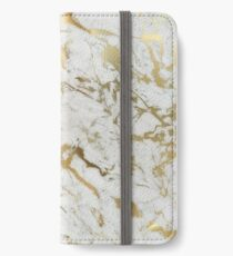 Gold marble on white (original height quality print) iPhone Wallet/Case/Skin