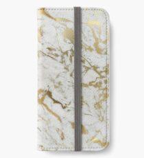 Gold Marmor auf Weiß (Original Höhe Qualitätsdruck) iPhone Flip-Case/Hülle/Klebefolie