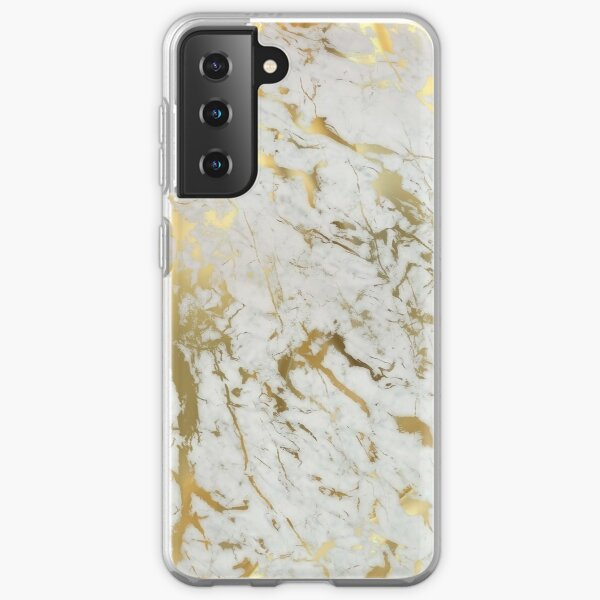 Gold marble on white (original height quality print) Samsung Galaxy Soft Case