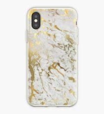 Gold Marmor auf Weiß (Original Höhe Qualitätsdruck) iPhone-Hülle & Cover