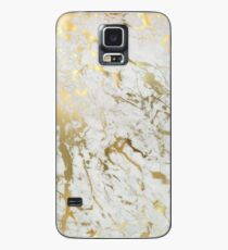 Gold Marmor auf Weiß (Original Höhe Qualitätsdruck) Hülle & Klebefolie für Samsung Galaxy