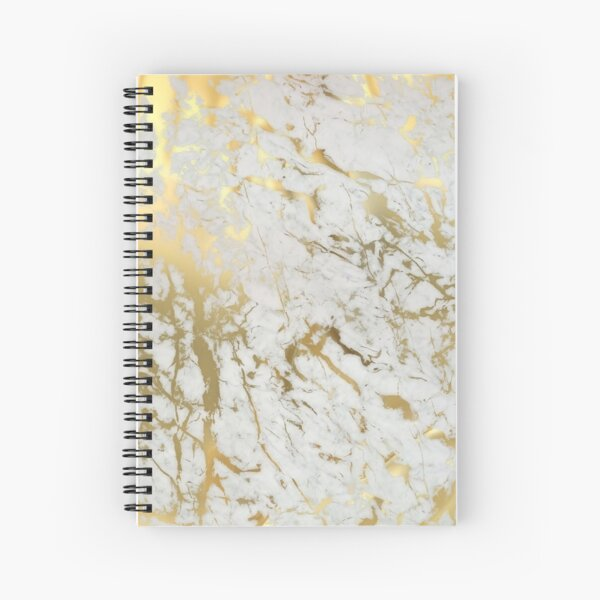 Gold marble on white (original height quality print) Spiral Notebook