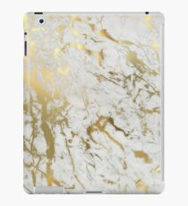 Gold marble on white (original height quality print) iPad Case/Skin