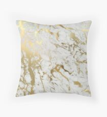 Gold marble on white (original height quality print) Throw Pillow