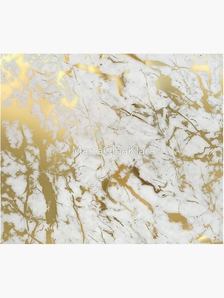 Gold Marmor auf Weiß (Original Höhe Qualitätsdruck) von MartaOlgaKlara
