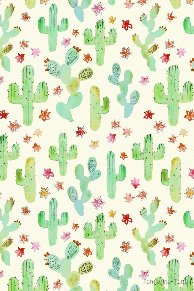 Watercolor Cacti by Tangerine-Tane