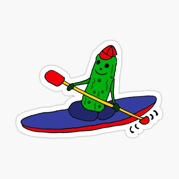 Funny and Cool Kayaking Pickle Sticker