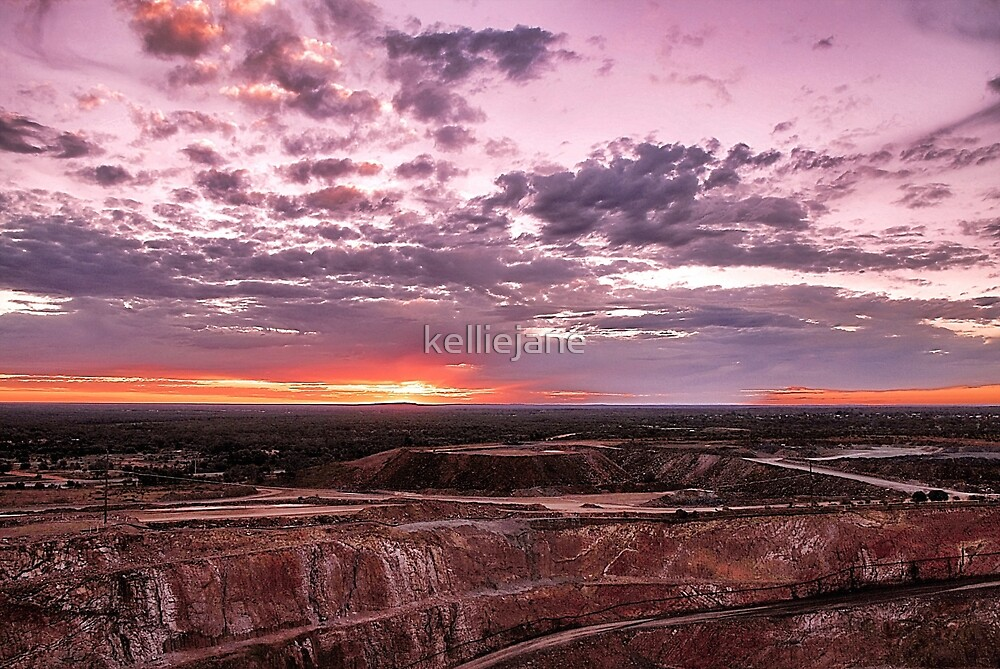 Sunset over the Open Cut Mine - Cobar by kelliejane