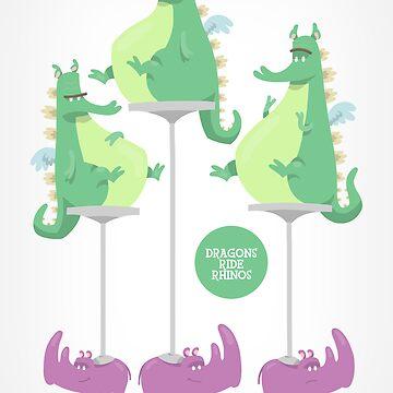 Dragons Ride Rhinos by willwood
