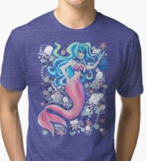 Pink Tailfin Mermaid Tri-blend T-Shirt